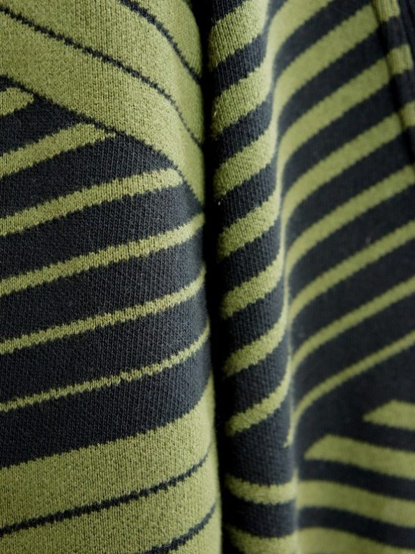 Romaria Long Cardigan Olive Green and Black Fabric