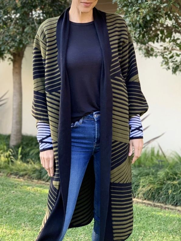 Romaria Long Cardigan Olive Green and Black Front