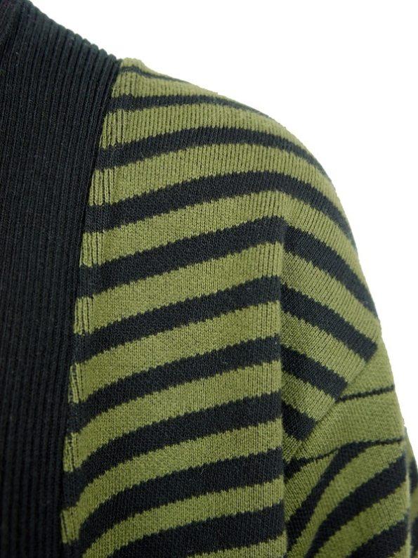 Romaria Long Cardigan Olive Green and Black Shoulder Detail