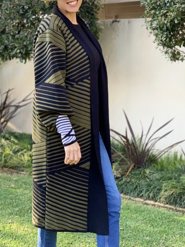 Romaria Long Cardigan Olive Green and Black Side 2