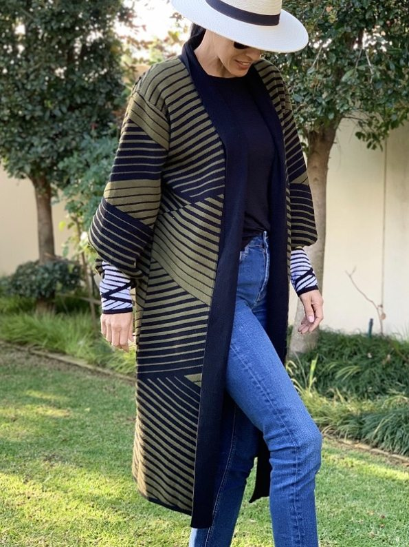 Romaria Long Cardigan Olive Green and Black Side 3
