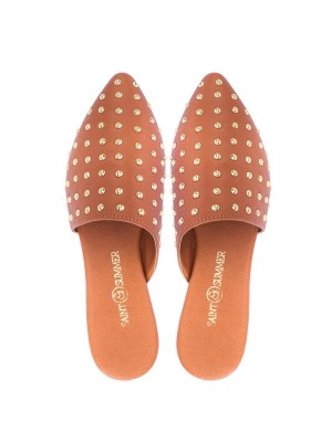 A pair of leather tan mules shoes with gold studs South Africa