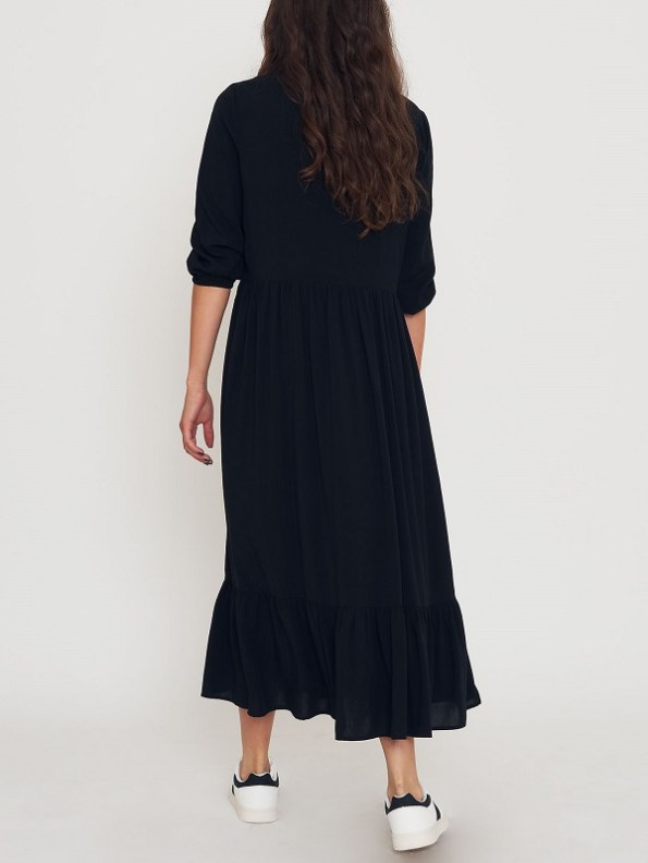 Good Clothing Tea Frill Dress Black Back