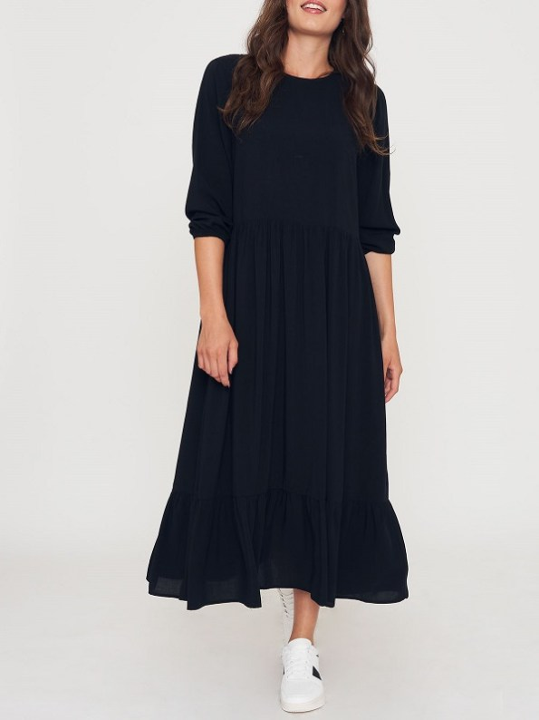 Good Clothing Tea Frill Dress Black Front