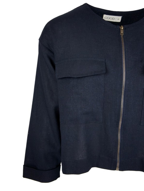 Good Wearwithanything Jacket Navy Linen Blend Detail