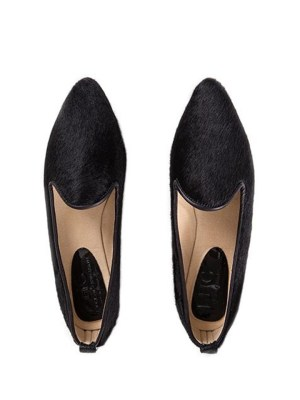 Loafers for women in black calf hair a pair of flat shoes from South Africa