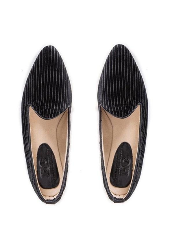 House of Cinnamon Sinead Velvet Loafers Pinstripe Pair