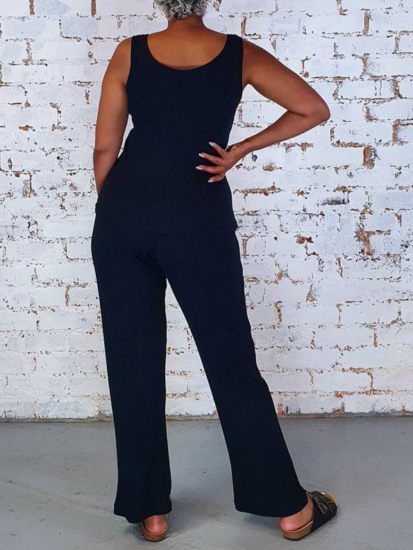 JMVB Lux Loungewear Pants and Tank Back Black
