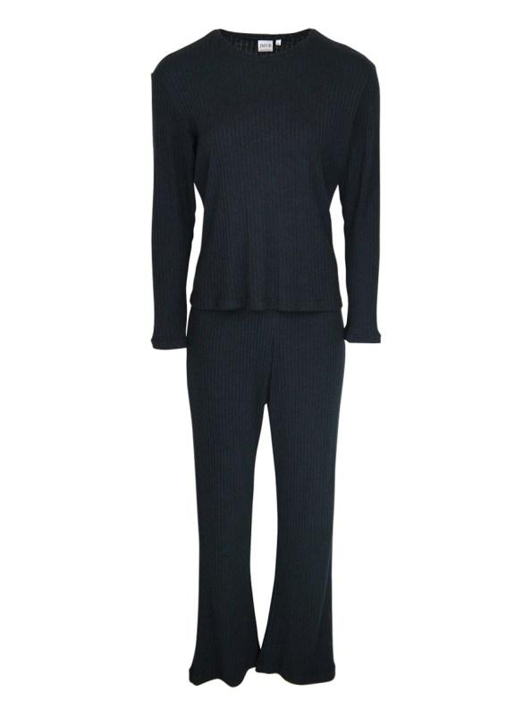 JMVB Lux Loungewear Set with LS Top Black