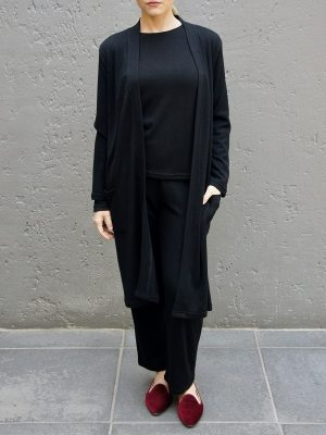 Long black cardigan with matching long sleeve top and lounge pants made in South Africa