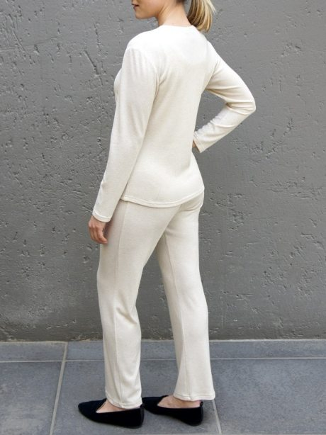 Beige long sleeve top with matching lounge pants South Africa