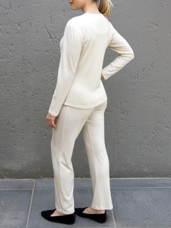 JMVB Luxe Loungewear Long Sleeve Top and Pants Beige Back 2