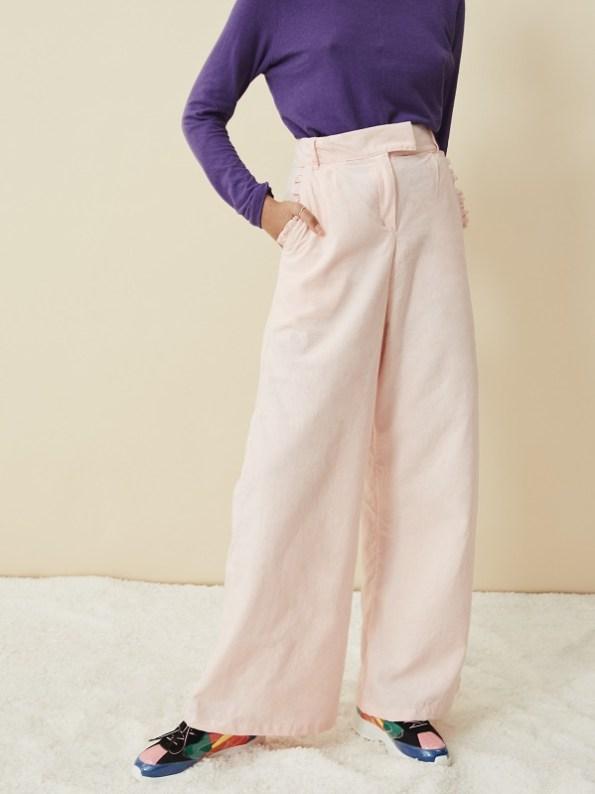 Asha Eleven Hemp Top Petunia with High Waisted Wide Leg Pants Rose Water