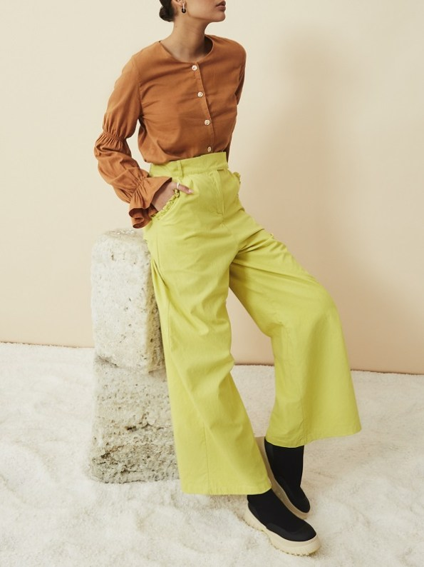 Asha Eleven High Waisted Wide Leg Hemp Pants Lemon with Outlander Hemp Blouse Chesa