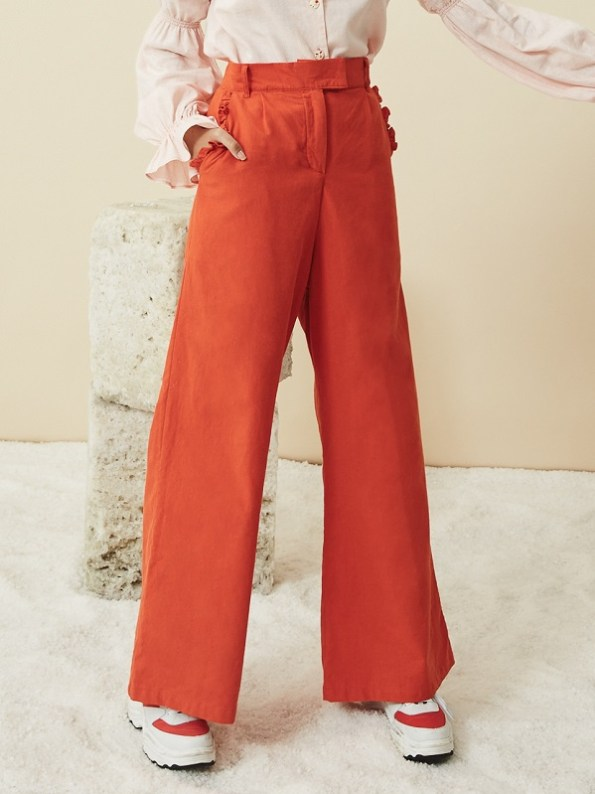 Asha Eleven High Waisted Wide Leg Hemp Pants Tangerine with Blouse