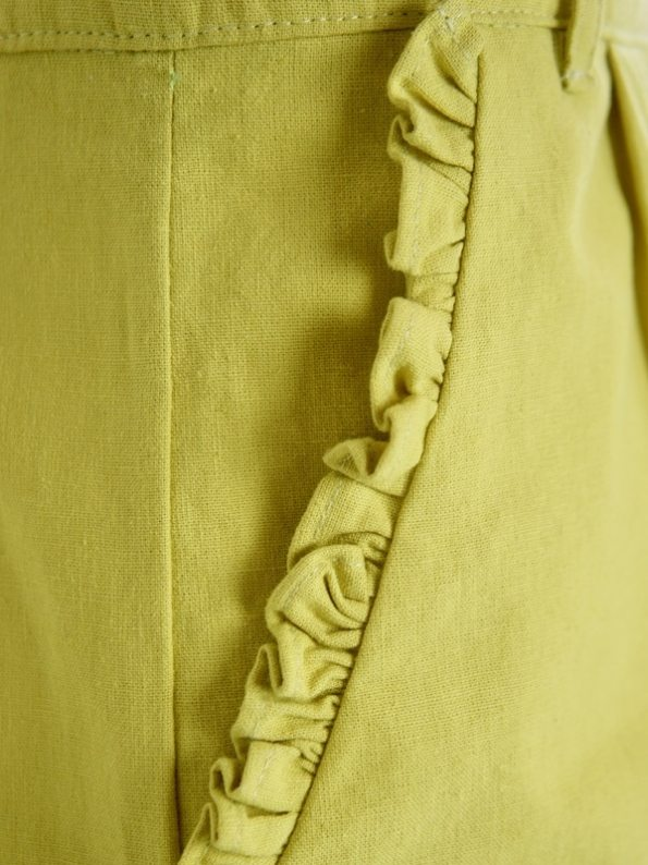 Asha Eleven High Waisted Wide Leg Linen Pants Lemon Pocket