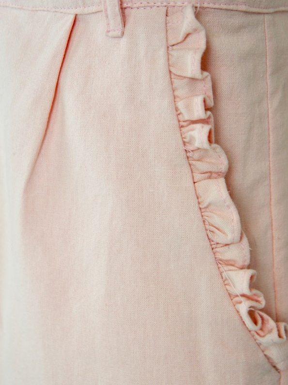 Asha Eleven High Waisted Wide Leg Linen Pants Rose Pocket Detail