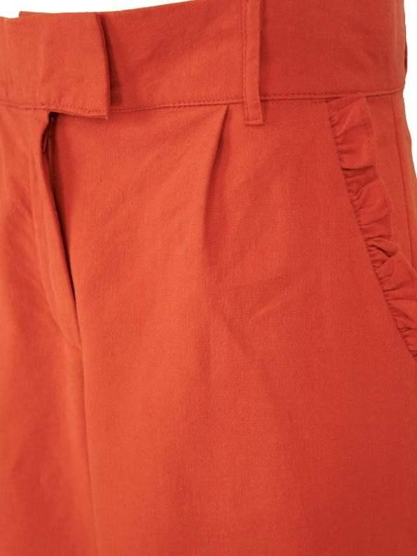 Asha Eleven High Waisted Wide Leg Linen Pants Tangerine Detail
