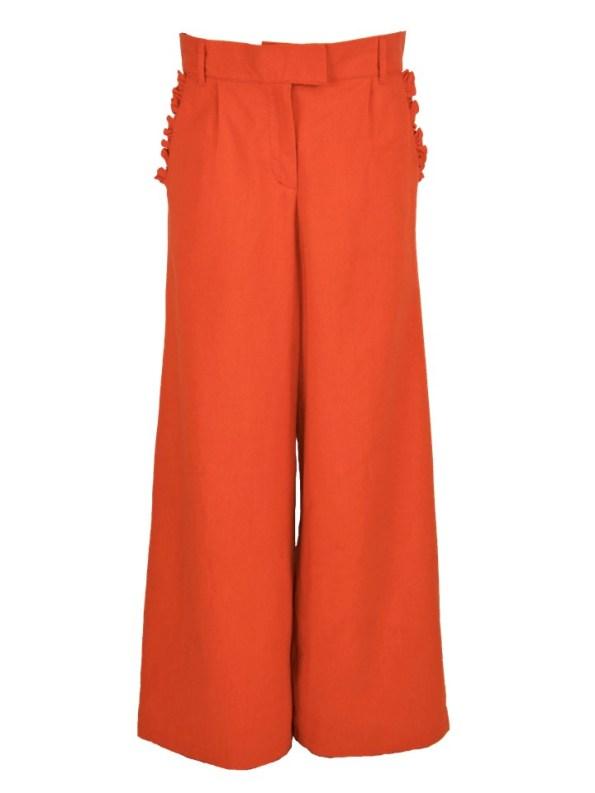 Asha Eleven High Waisted Wide Leg Linen Pants Tangerine