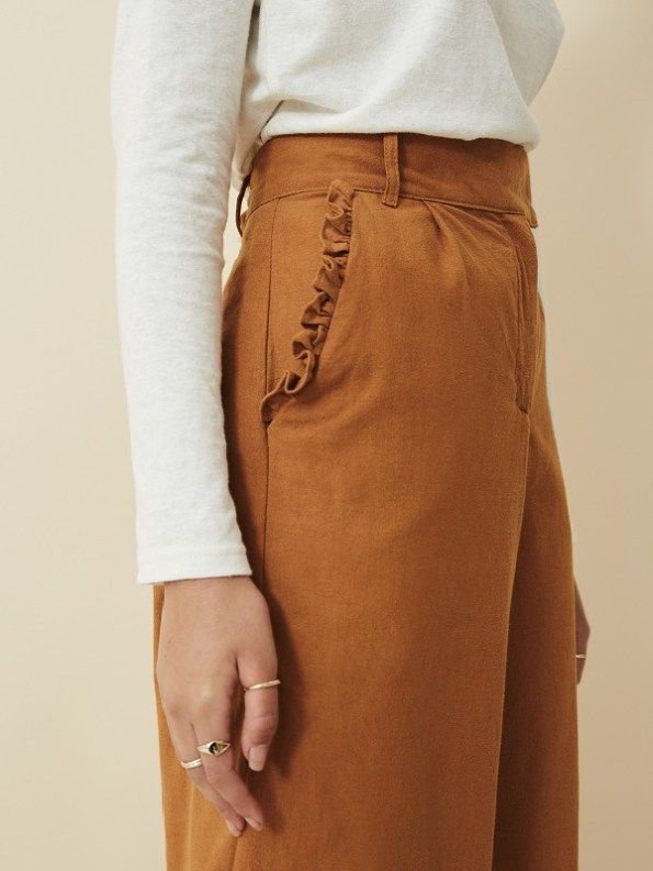 Asha Eleven High Waisted Wide Leg Pants Chesa Detail
