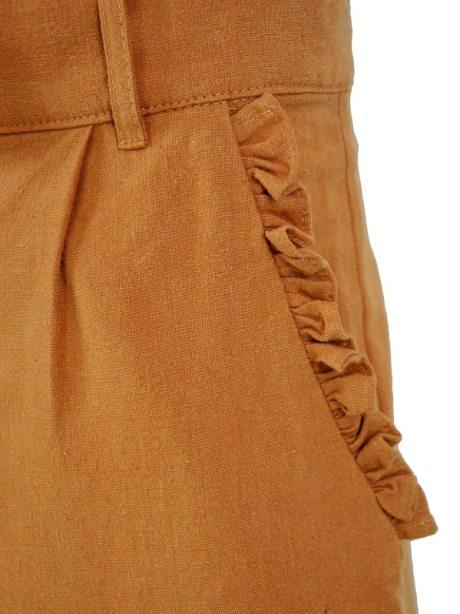 High Waisted Wide Leg Pants Brown Pocket