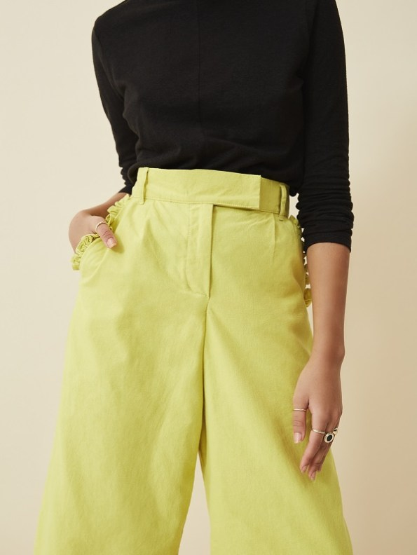 Asha Eleven High Waisted Wide Leg Pants Lemon with Turtle Neck Hemp Top