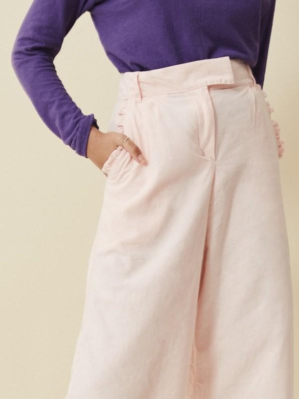 Asha Eleven High Waisted Wide Leg Pants Rose Water Pocket
