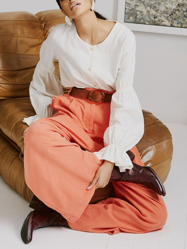 Asha Eleven High and Wide Pants Coral and Outlander Blouse 1
