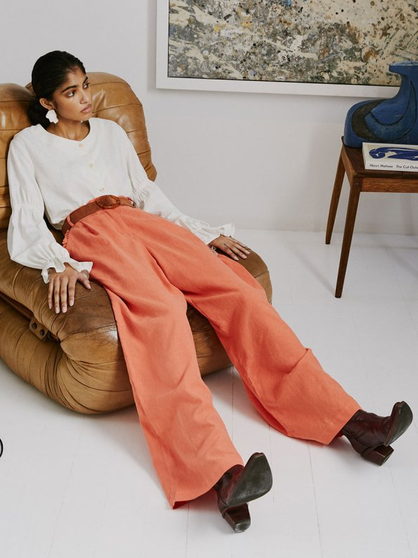 Asha Eleven High and Wide Pants Coral and Outlander Blouse 2