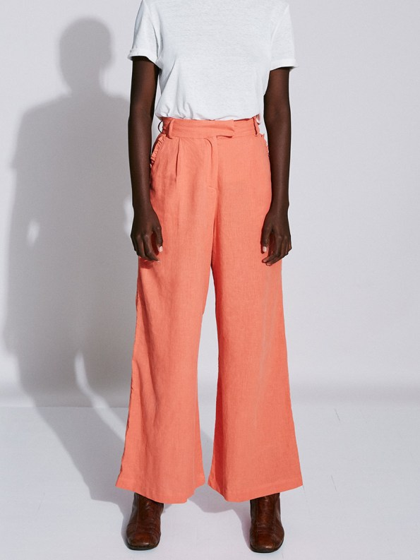 Asha Eleven High and Wide Pants Coral and White T-shirt 2