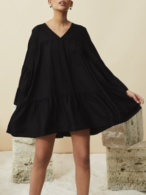 long sleeve short black dress Tencel South Africa
