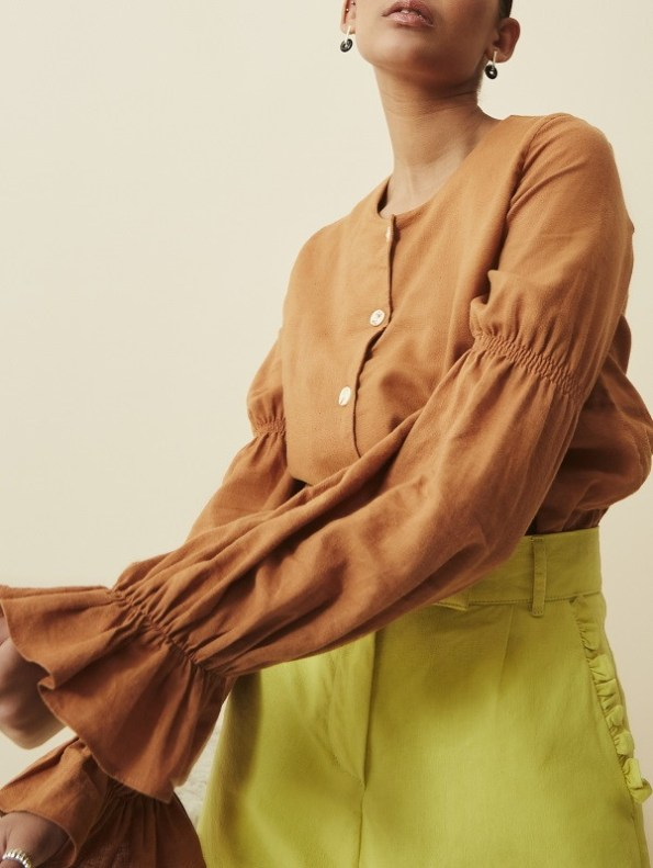 Asha Eleven Outlander Blouse Chesa Sleeve Detail with High & Wide Pants