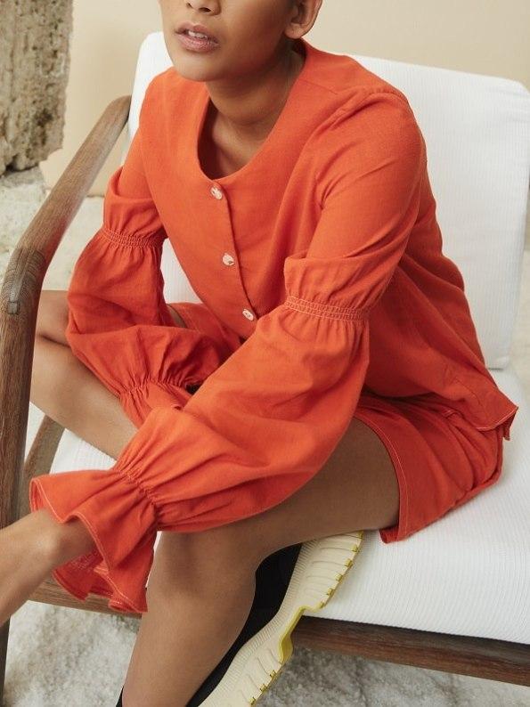 Asha Eleven Outlander Blouse Orange with Salama Shorts Sit