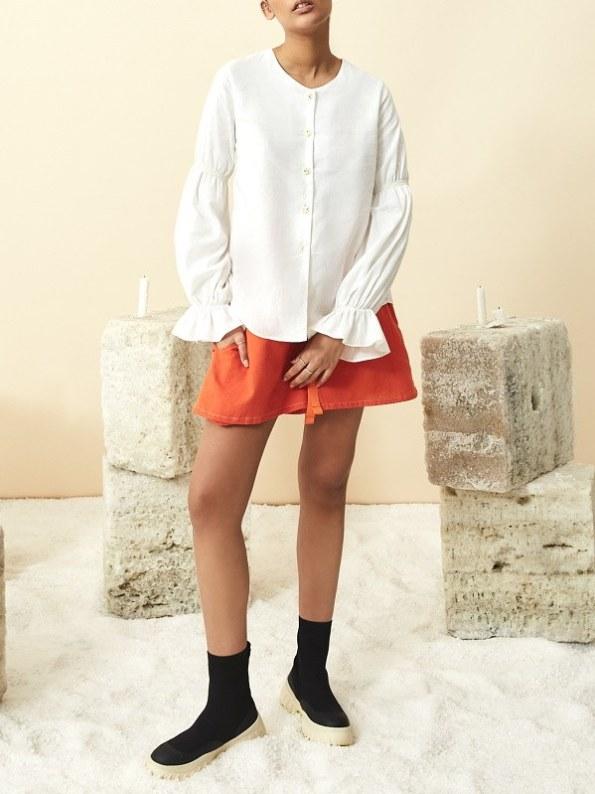 Asha Eleven Outlander Blouse White With Salama Orange Shorts