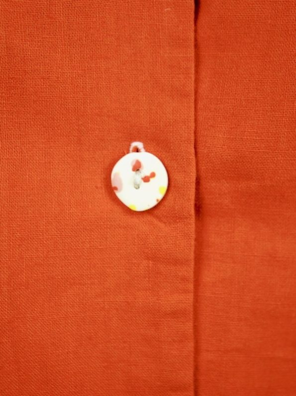 Asha Eleven Outlander Hemp Blouse Tangerine Buttons