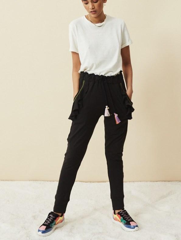 Asha Eleven Pumzika Hemp Joggers Pants Black with White Hemp Tshirt