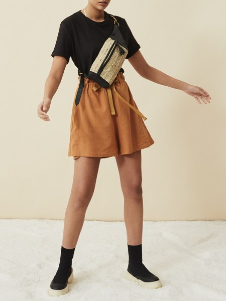 brown hemp ladies shorts with hemp t-shirt made in South Africa