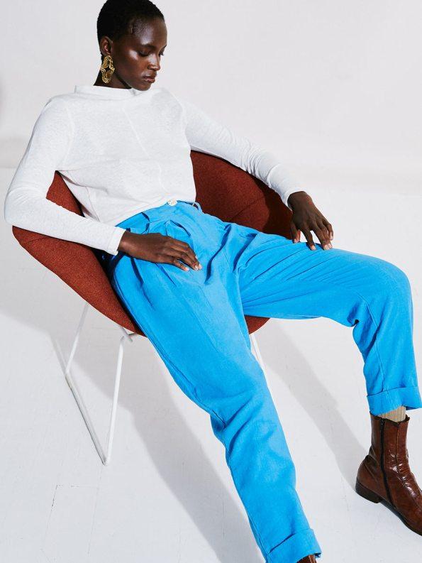 Asha Eleven Tembea Trousers Cornflower Blue and Happy Turtles Top