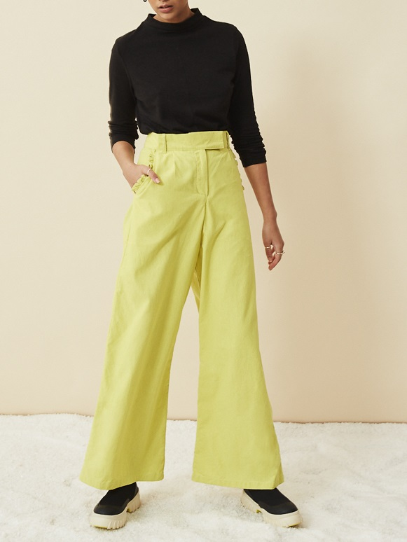 Asha Eleven Turtle Neck Hemp Top Black with High Waisted Wide Leg Lemon Pants