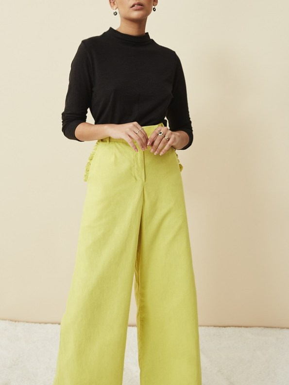 Asha Eleven Turtle Neck Hemp Top Black with High Waisted Wide Leg Pants Lemon