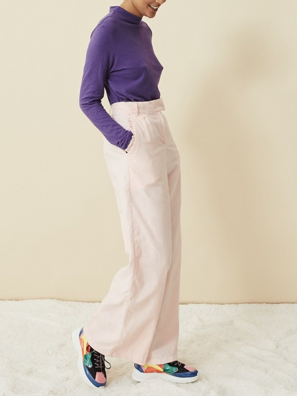 Asha Eleven Turtle Neck Top Petunia with High Waisted Wide Leg Pants Rose Water