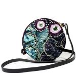 Embroidered round crossbody bag with ocean design blue and purple Wanderland Collective