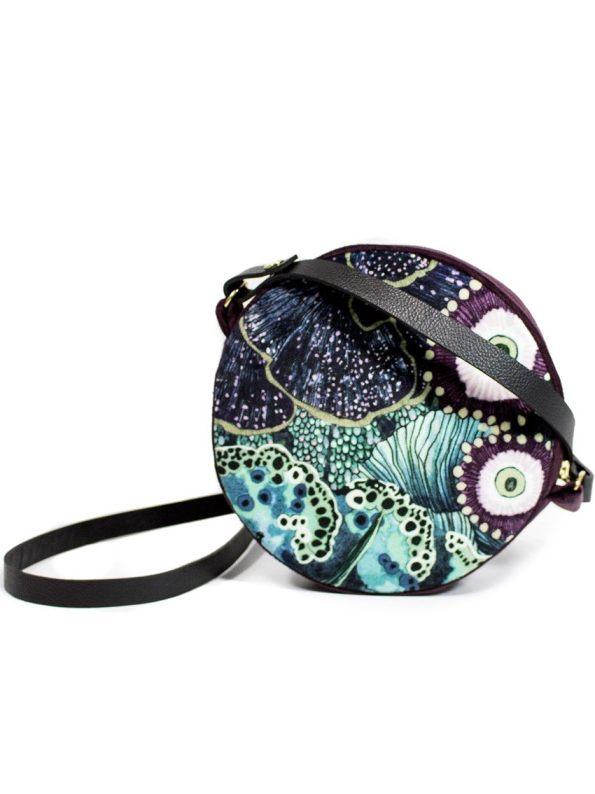 Embroidered Oceanum Azure Round Velvet Bag Azure Back