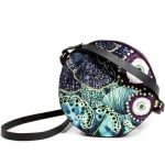 Round crossbody bag with ocean design blue and purple Wanderland Collective