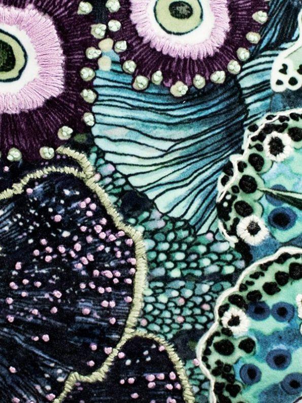 Embroidered Oceanum Azure Round Velvet Bag Azure Fabric