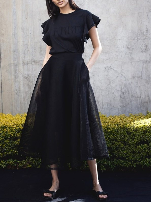 Erre Circle Skirt Mesh Black