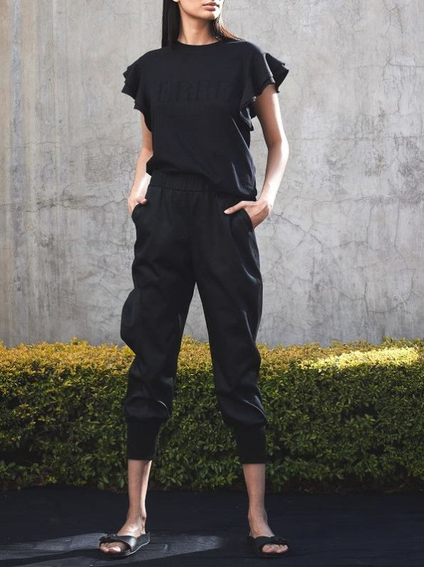 Erre Edge Cargo Pants and Erre Tshirt Black Front