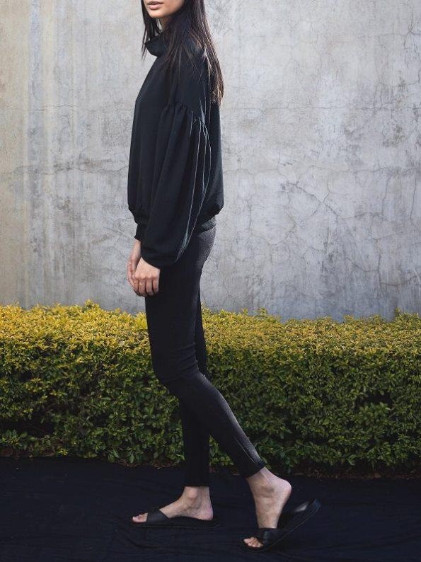 Erre Flex Summer Sweater Black with High Waisted Slim Leg Pants Black