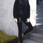 Erre High Waisted Slim Fit Pants Black