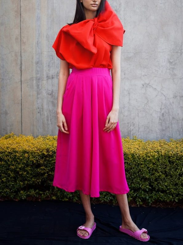 Erre Flow Pink Culottes and Bend Red Bow Top